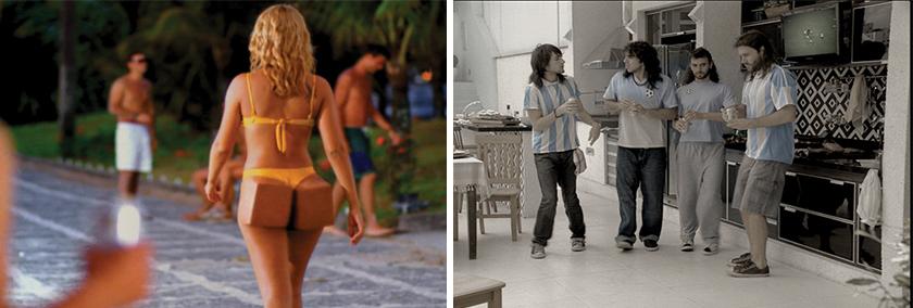 """À esquerda, comercial 1998 irreverente reforçou o conceito """"A cerveja que desce redondo"""". Ao lado comercial """"Argentinos do samba"""""""