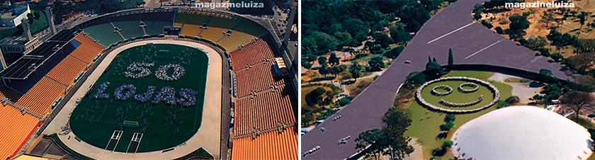 Em 2008, o Magazine Luiza apostou numa ação de impacto para anunciar a chegada à capital paulista: inauguração de 50 lojas de uma vez e campanha na TV usando como cenário os principais cartões-postais da cidade, como o estádio do Pacaembu