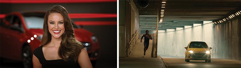 Acima Paolla Oliveira, uma das celebridades escaladas pela marca neste ano. Ao lado, Cena do filme de 2012 sobre o Novo Punto, que reforçou o perfil jovem e esportivo do carro e destacou o aplicativo Social Drive