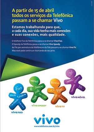 Peça comunicando o rebranding de 2003