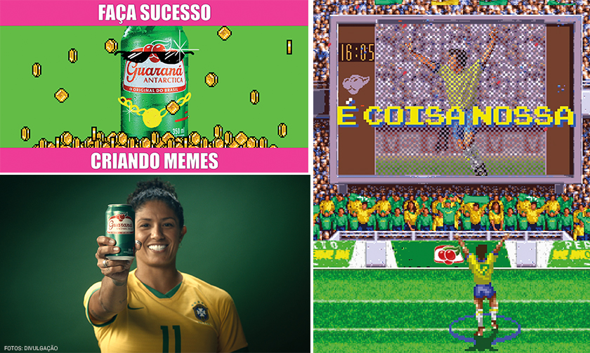 """Campanha """"Memearia"""", ação digital com o craque do videogame Allejo e campanha pela valorização do futebol feminino (no foto, a atacante Cristiane): comunicação foca o lado divertido do brasileiro"""